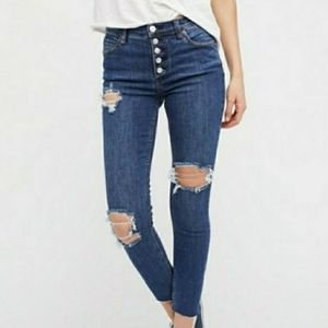 Free People Buttonfly Distressed Skinny Jeans